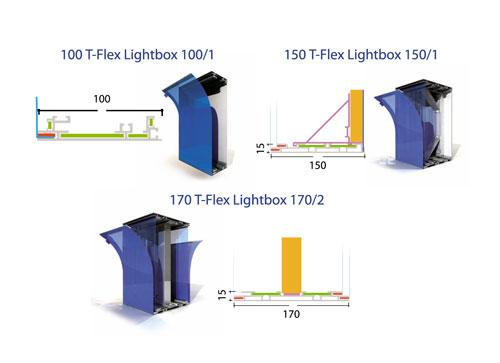 Профиль T-Flex Lightbox позволяет изготавливать одно- и двухсторонние световые короба (толщина 100/150/170 мм)...